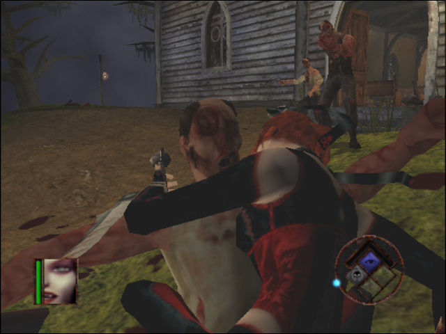 BloodRayne GameCube Feeding on a guy while being shot at
