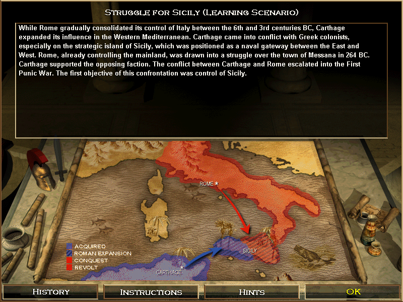 Age of Empires: The Rise of Rome (Demo Version) Windows As usual, historical background is provided for each mission, along with a nicely drawn map.