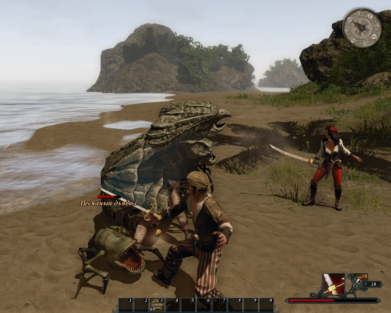 Risen 2: Dark Waters Windows 2 on 2 fight at the beach