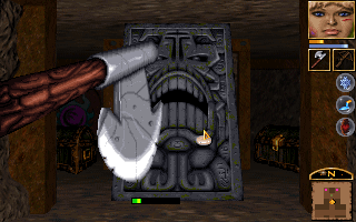 Anvil of Dawn DOS One of the weirdest enemies: a Juggernaut, an immobile furnace animated by fire magic.