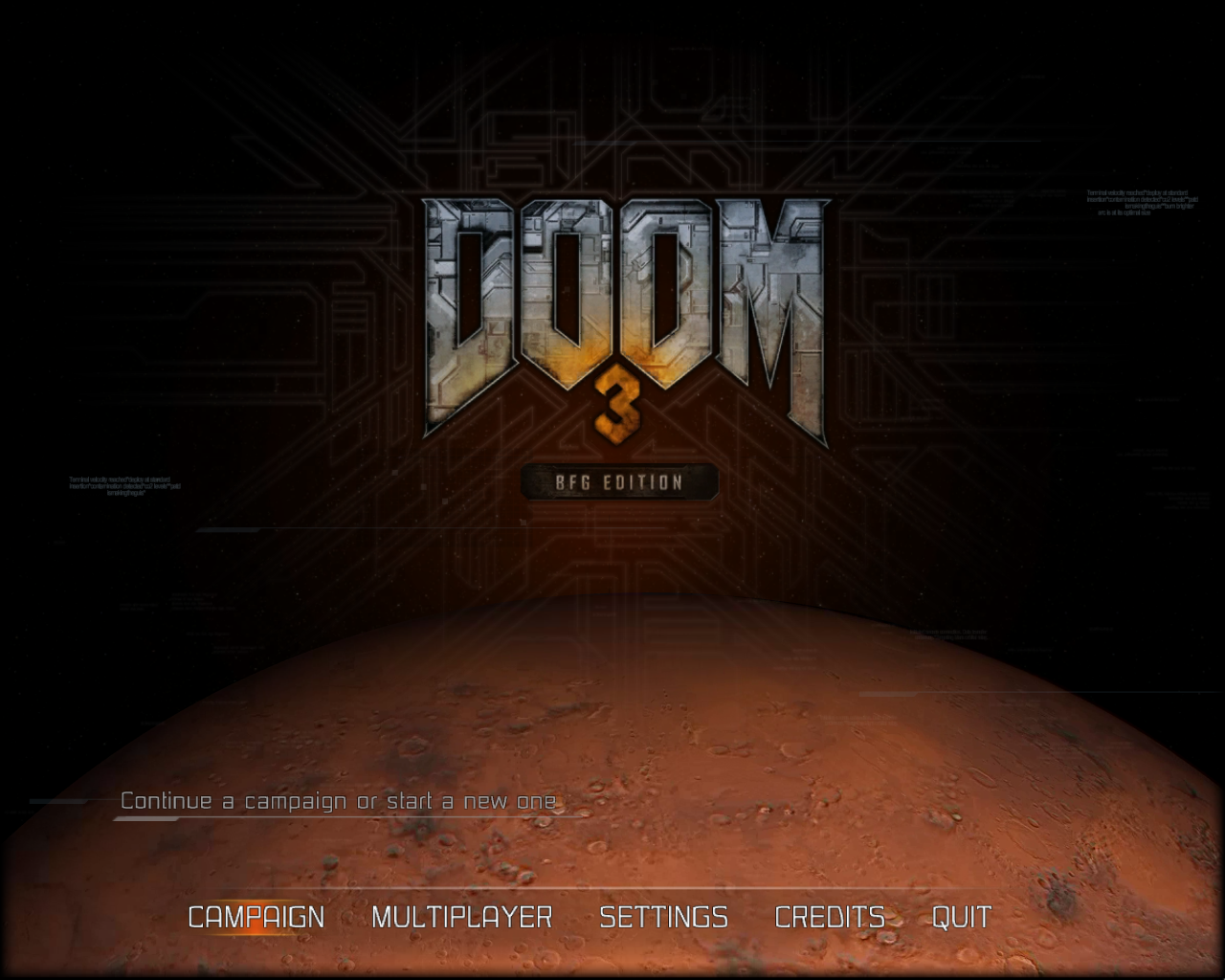DOOM³: BFG Edition Windows DOOM 3 main menu