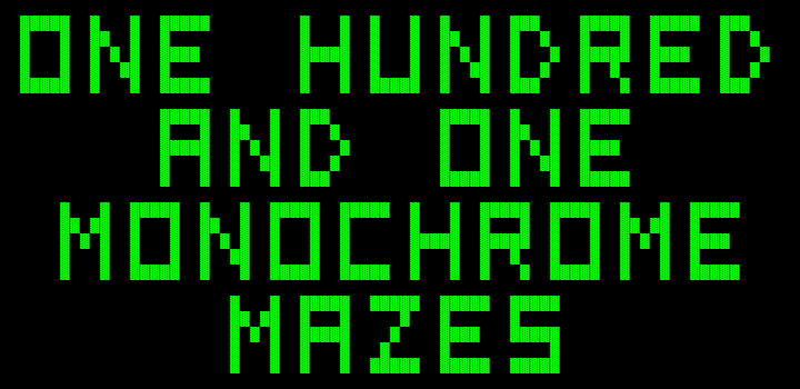 One Hundred and One Monochrome Mazes DOS Title screen 2