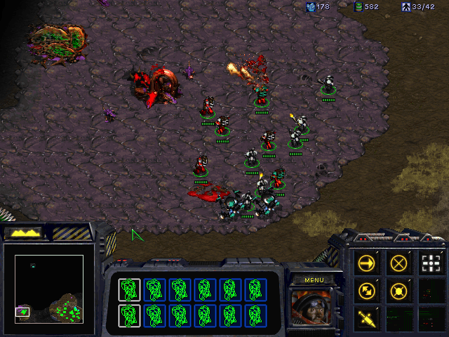 StarCraft (Demo Version) Windows Attacking the Zerg base in a mission exclusive to the CD version. The objective here is to escort Cerberus operatives to the installation entrance.