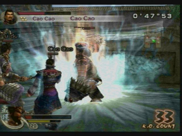 Dynasty Warriors 5: Xtreme Legends PlayStation 2 Fighting Cao Cao and feather-head.