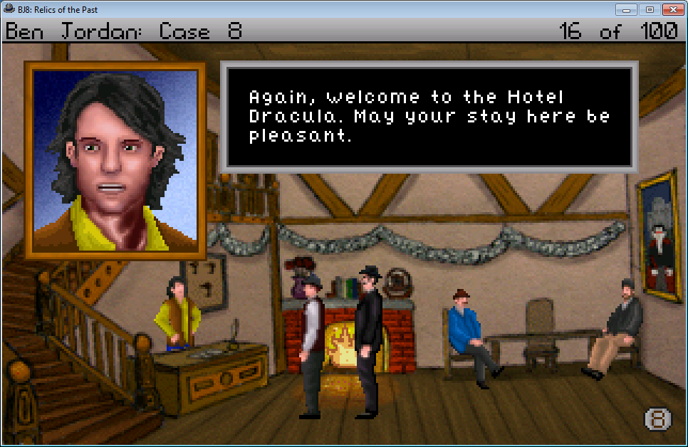 Ben Jordan: Paranormal Investigator Case 8 - Relics of the Past Windows Talking with the hotel's receptionist. The background is drawn in the style of the hotel of <i>Quest for Glory 4</i>.