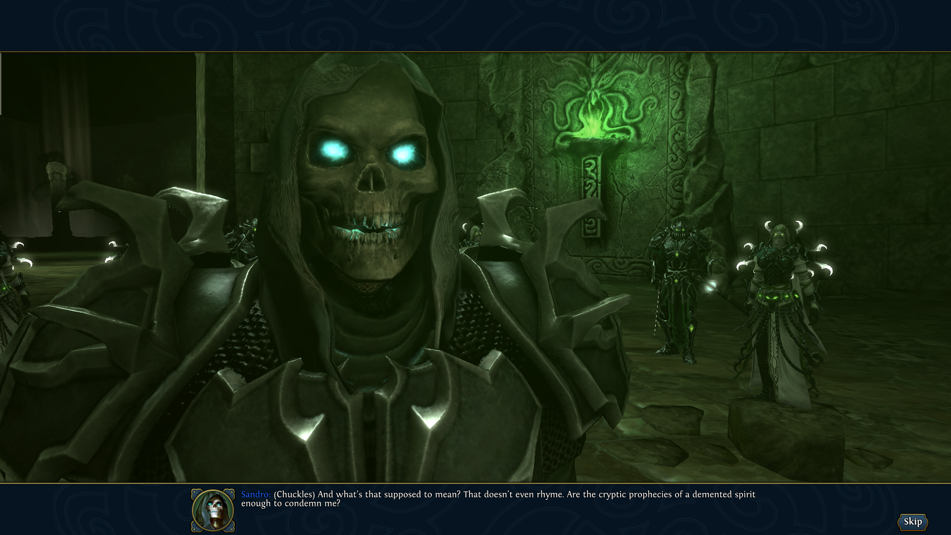 "Might & Magic: Heroes VI - Danse Macabre Windows You can play as a ""Might"" Sandro if you like, he remains equally witty."