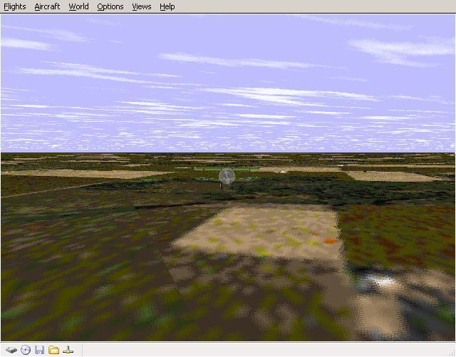 Perfect Flight Deluxe: Great Britain Windows <i>Microsoft Flight Simulator 98</i>. With the new scenery de-activated Old Warden airfield disappears and the whole countryside changes appearance dramatically.