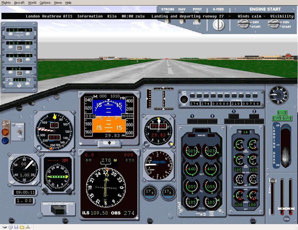 Perfect Flight Deluxe: Great Britain Windows <i>Microsoft Flight Simulator 98</i>. Another of the flights that installs with the add-on is in a Boeing taking off from Heathrow. This is the view from the cockpit as it starts.