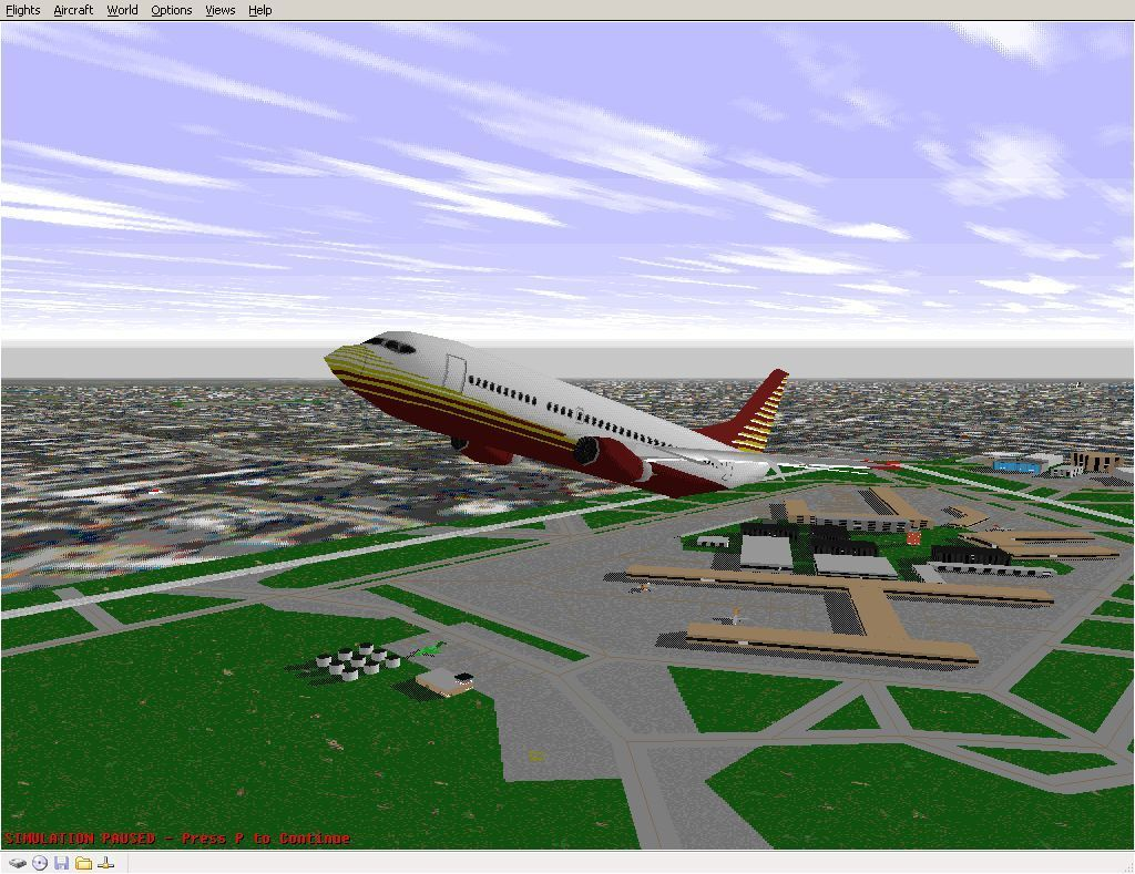 Perfect Flight Deluxe: Great Britain Windows <i>Microsoft Flight Simulator 98</i>. Just clearing Heathrow using the new scenery. Turning the new scenery off caused this flight to fail hence no comparison shot.