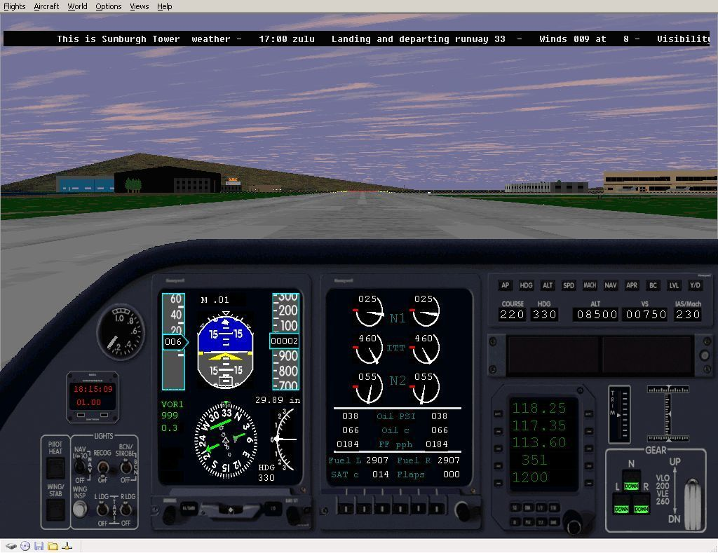 Perfect Flight Deluxe: Great Britain Windows <i>Microsoft Flight Simulator 98</i>. On the ground as Sumburgh airport, it's in the Scottish highlands and serves the Shetland Isles, with the new scenery enabled.
