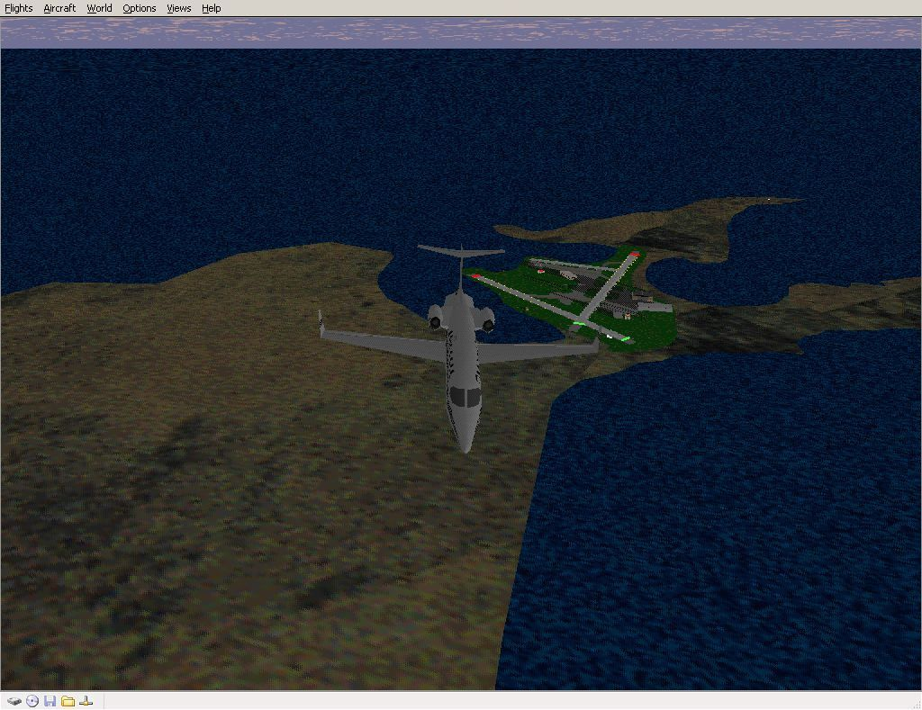 Perfect Flight Deluxe: Great Britain Windows <i>Microsoft Flight Simulator 98</i>. Just clearing Sumburgh airport with the new scenery enabled. Note the coastline and compare with the next screen shot.
