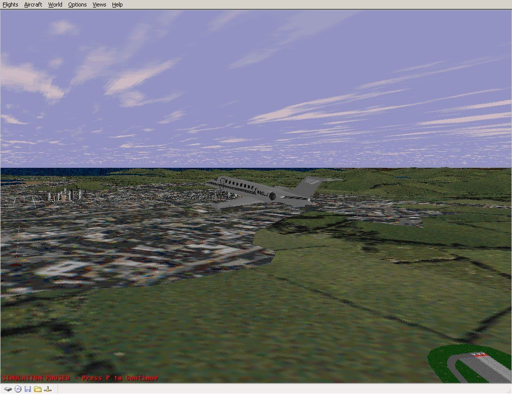 Perfect Flight Deluxe: Great Britain Windows <i>Microsoft Flight Simulator 98</i>. Leaving Edinburgh airport airspace and heading towards the city with the new scenery enabled.