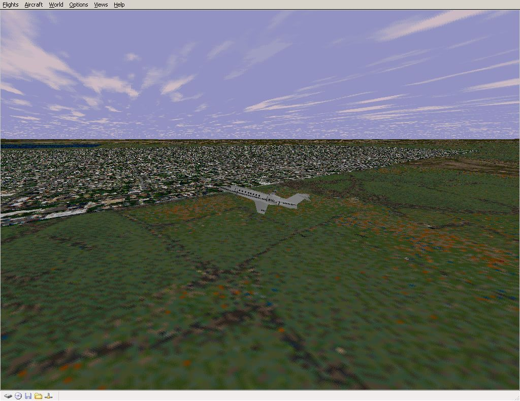 Perfect Flight Deluxe: Great Britain Windows <i>Microsoft Flight Simulator 98</i>. With the new scenery disabled Edinburgh becomes flat and rectangular.