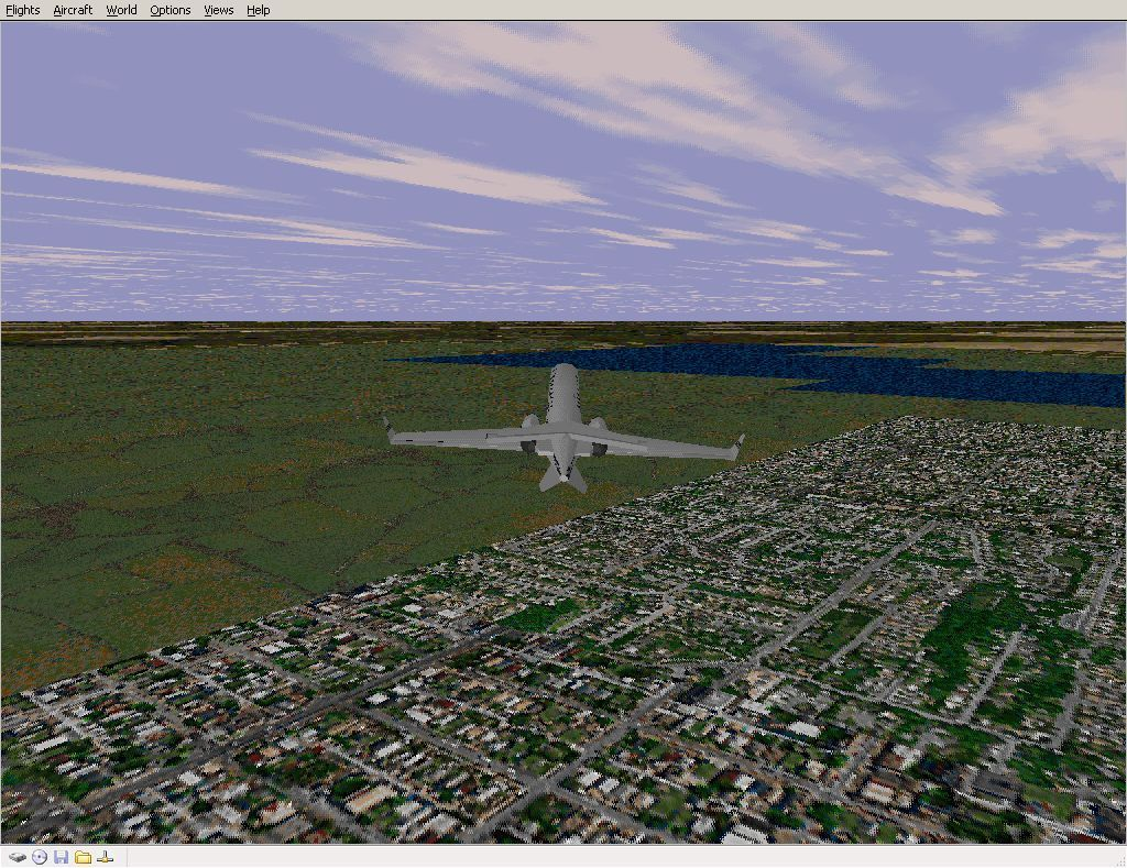 Perfect Flight Deluxe: Great Britain Windows <i>Microsoft Flight Simulator 98</i>. The most dramatic changes are seen around the coastline. This is flying out of Edinbugh airport towards the Firth of Forth using default scenery.