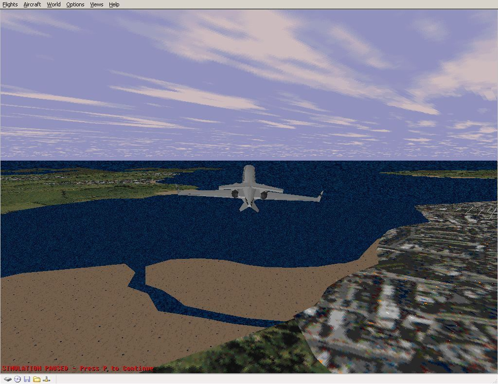 Perfect Flight Deluxe: Great Britain Windows <i>Microsoft Flight Simulator 98</i>. The plane is in the same position in the sky as it was for the previous screen shot but now the new scenery has been enabled. Much more realistic.