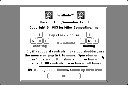 Fusillade Macintosh Title screen