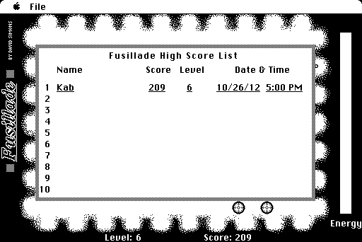Fusillade Macintosh High score list