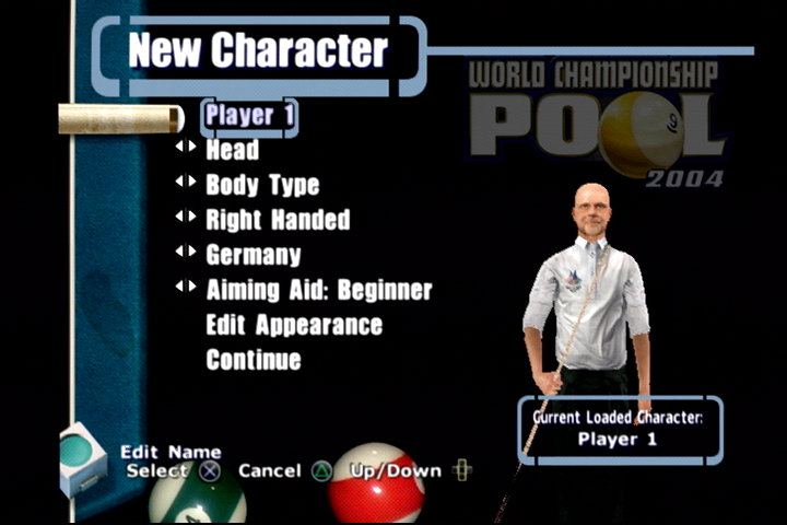 World Championship Pool 2004 PlayStation 2 Create-a-character