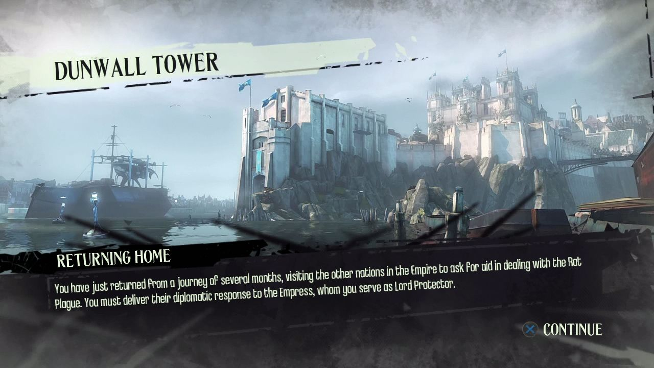 Dishonored PlayStation 3 Loading screen with story reminder.