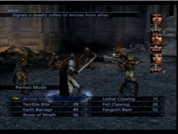 The Lord of the Rings: The Third Age PlayStation 2 'Perfect Mode' skills are available at certain times.  They are devastating but cheap attacks.