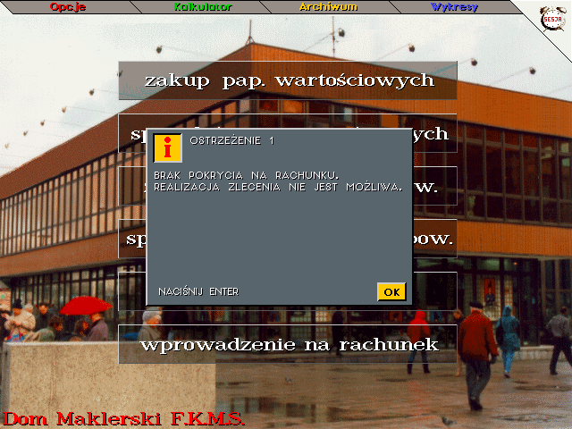 Inwestor DOS A typical message in the game
