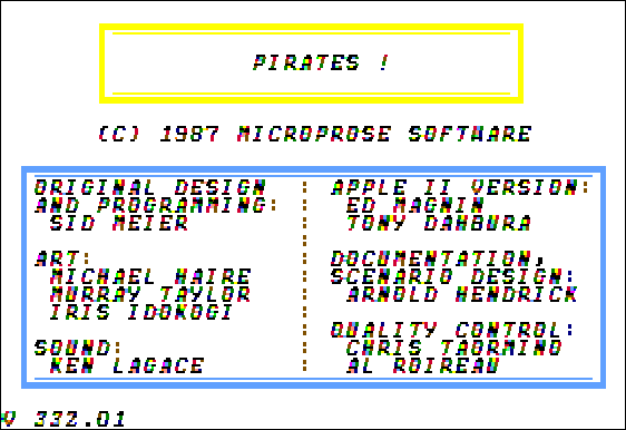 Sid Meier's Pirates! Apple II Credits