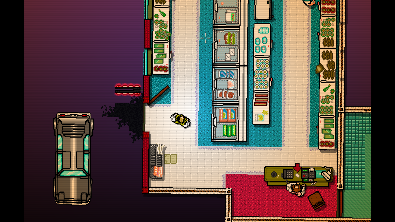 Hotline Miami Windows A short scene in a store after a mission