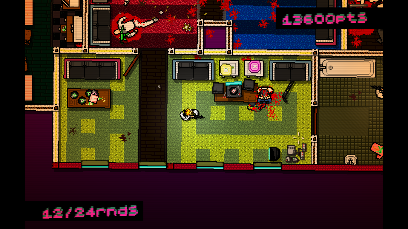 Hotline Miami Windows Moving on through an apartment.