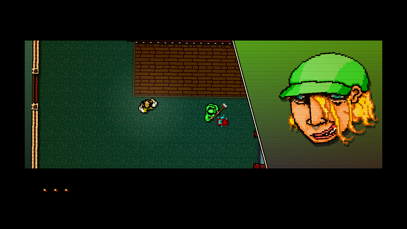 Hotline Miami Windows A meeting with a janitor (modeled after one of the developers).