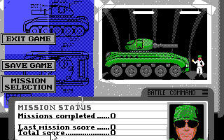 Battle Command DOS Mission Selection & Status (EGA/Tandy)