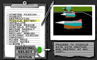 Battle Command DOS Select a mission (EGA/Tandy)