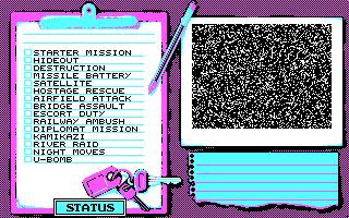 Battle Command DOS Select a mission (CGA)
