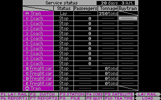 Railroad Empire DOS Report 1 - Service Status (CGA)