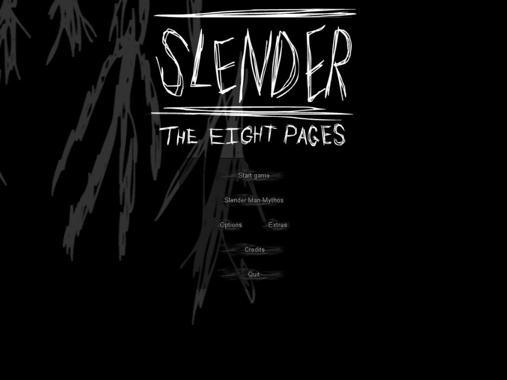 Slender: The Eight Pages Windows Title with main menu