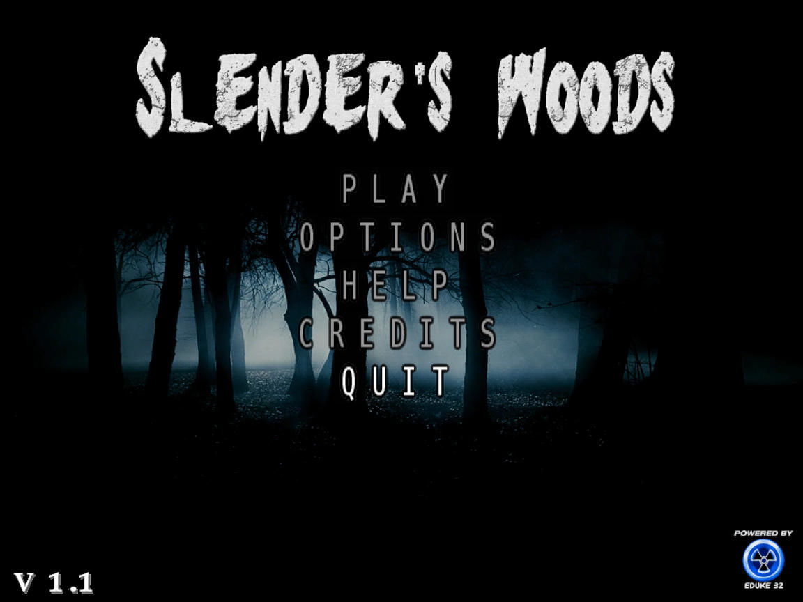 Slender's Woods Windows Title screen with main menu