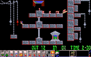 Xmas Lemmings DOS Oops, is it an indoor holiday level? No, it's one of the levels taken directly from <i>Oh No! More Lemmings</i>.