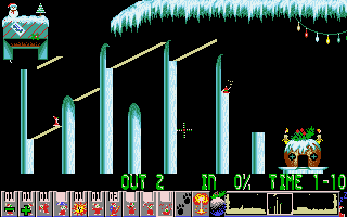 Xmas Lemmings DOS The game has just four levels - this is the last one