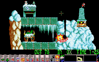 Holiday Lemmings DOS A screenshot made right in the moment of a little BOOM!