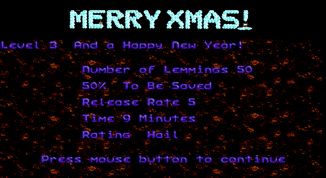 "Holiday Lemmings DOS Create a path all the way from the ""M"" to the exclamation sign"