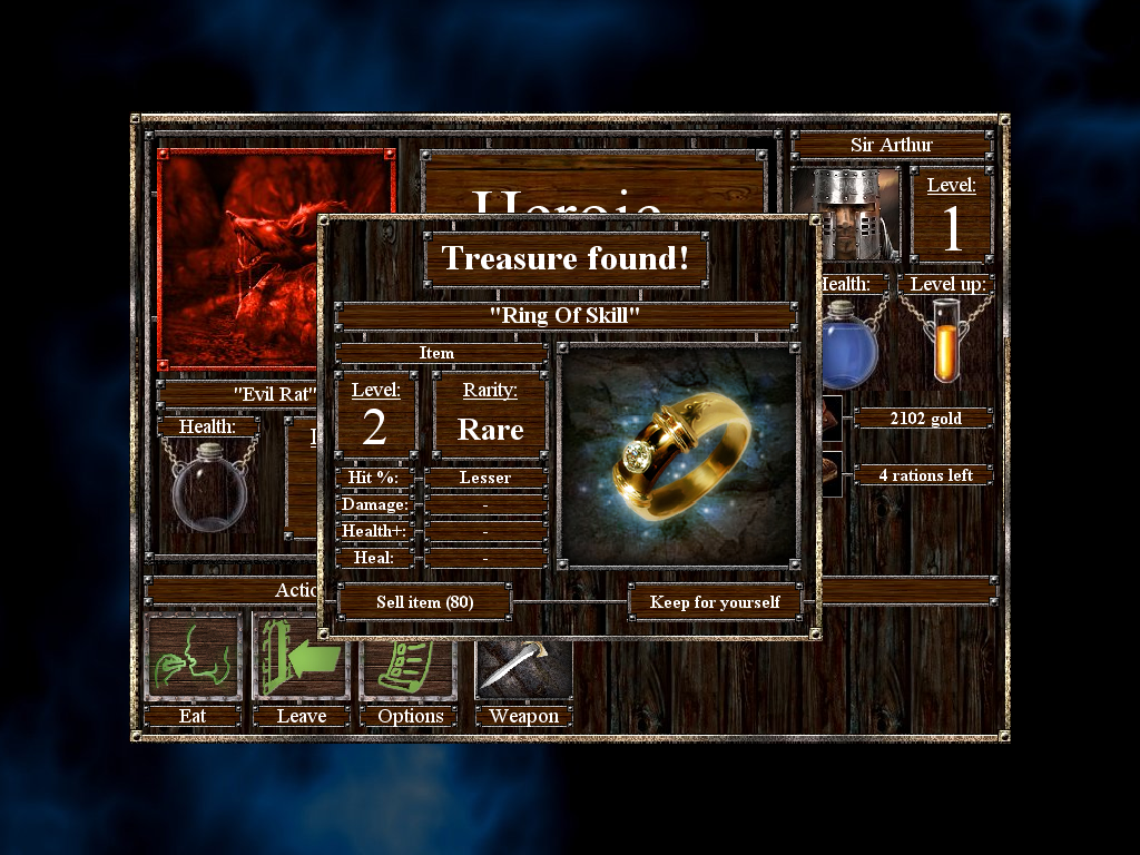 Empires & Dungeons Windows After defeating a monster, gold, treasures or some useful item can be found. The number of carrying slots in the player's inventory is quite limited though.