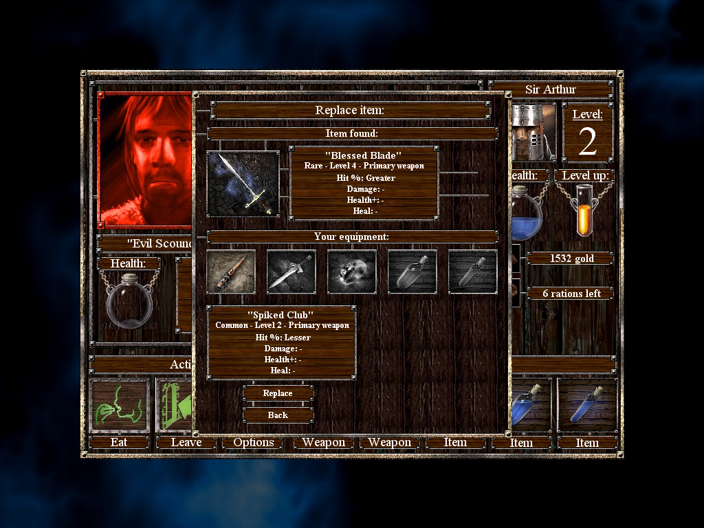 Empires & Dungeons Windows The player can have one primary and one secondary weapon. When more powerful weapons are found, older ones must be replaced.