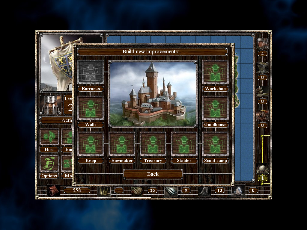 Empires & Dungeons Windows Managing the castle. Greyed out options are those that have already been constructed.