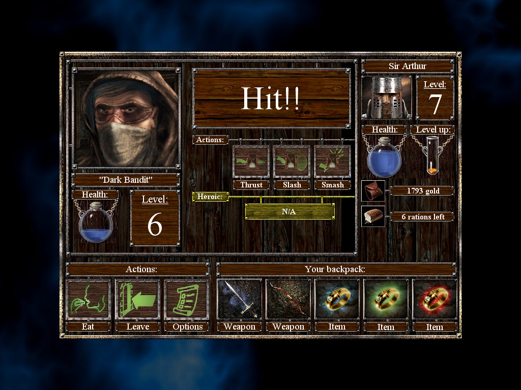 Empires & Dungeons Windows Combat with a medium-level enemy.