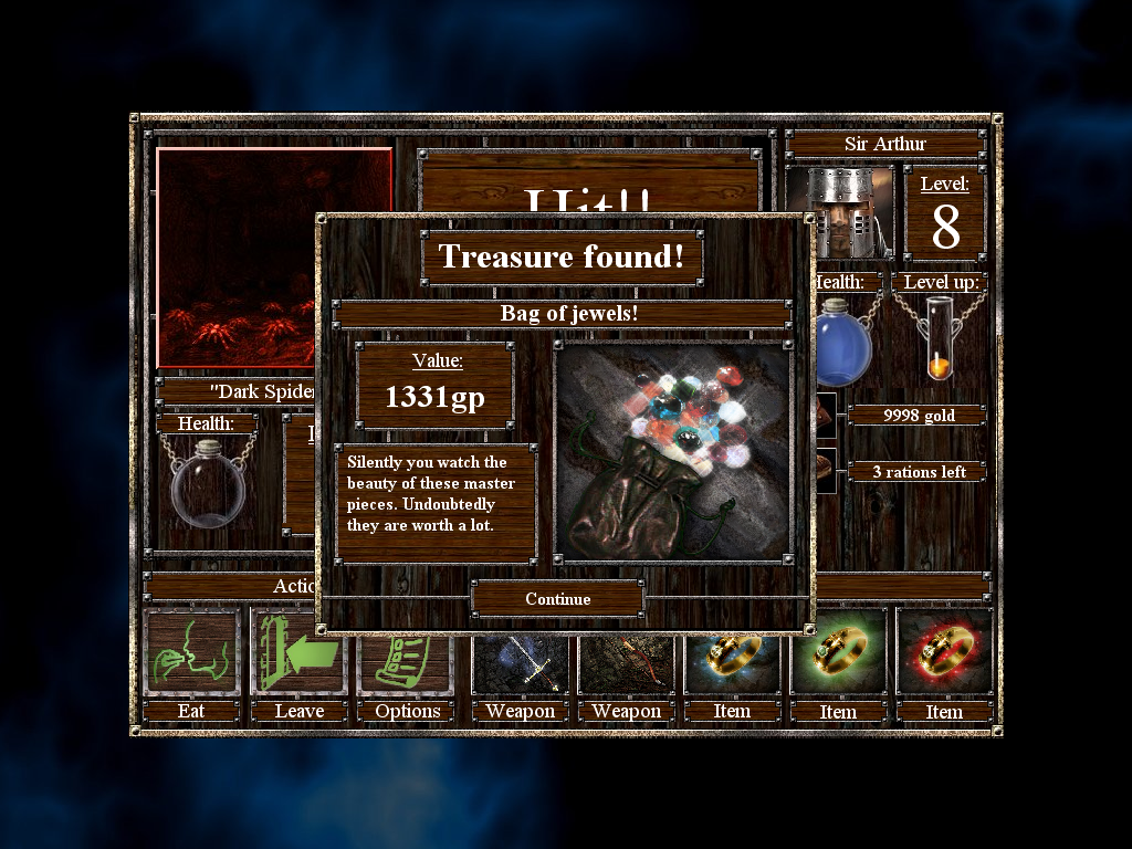 Empires & Dungeons Windows Treasure items might look different but they all mean just more gold added to the player's resources.