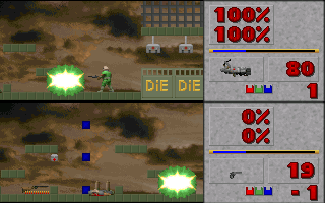 DOOM 2D DOS Two player deathmatch