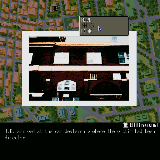Murder Club Sharp X68000 This is how locations are displayed