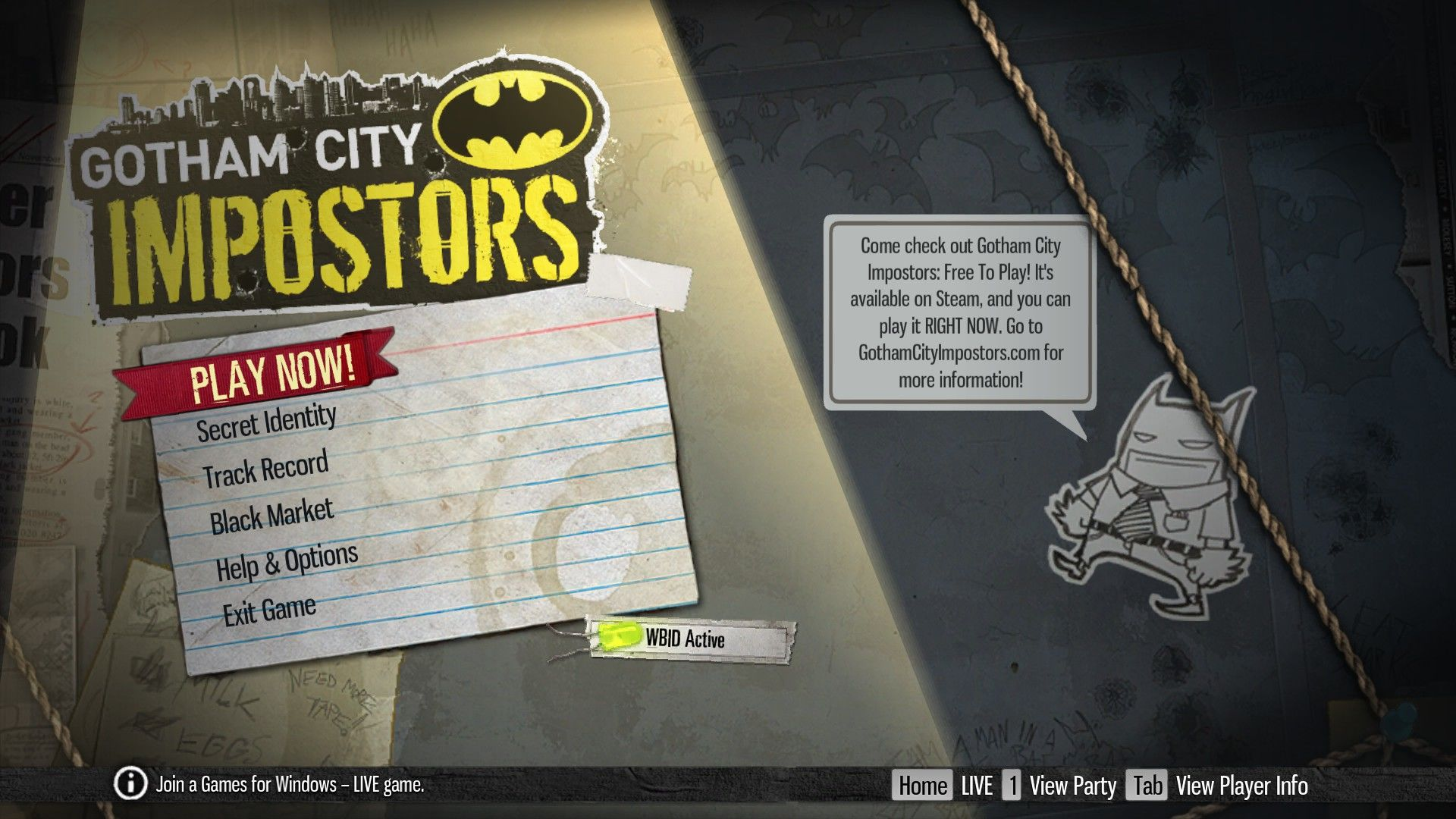 Gotham City Impostors Windows Main Menu