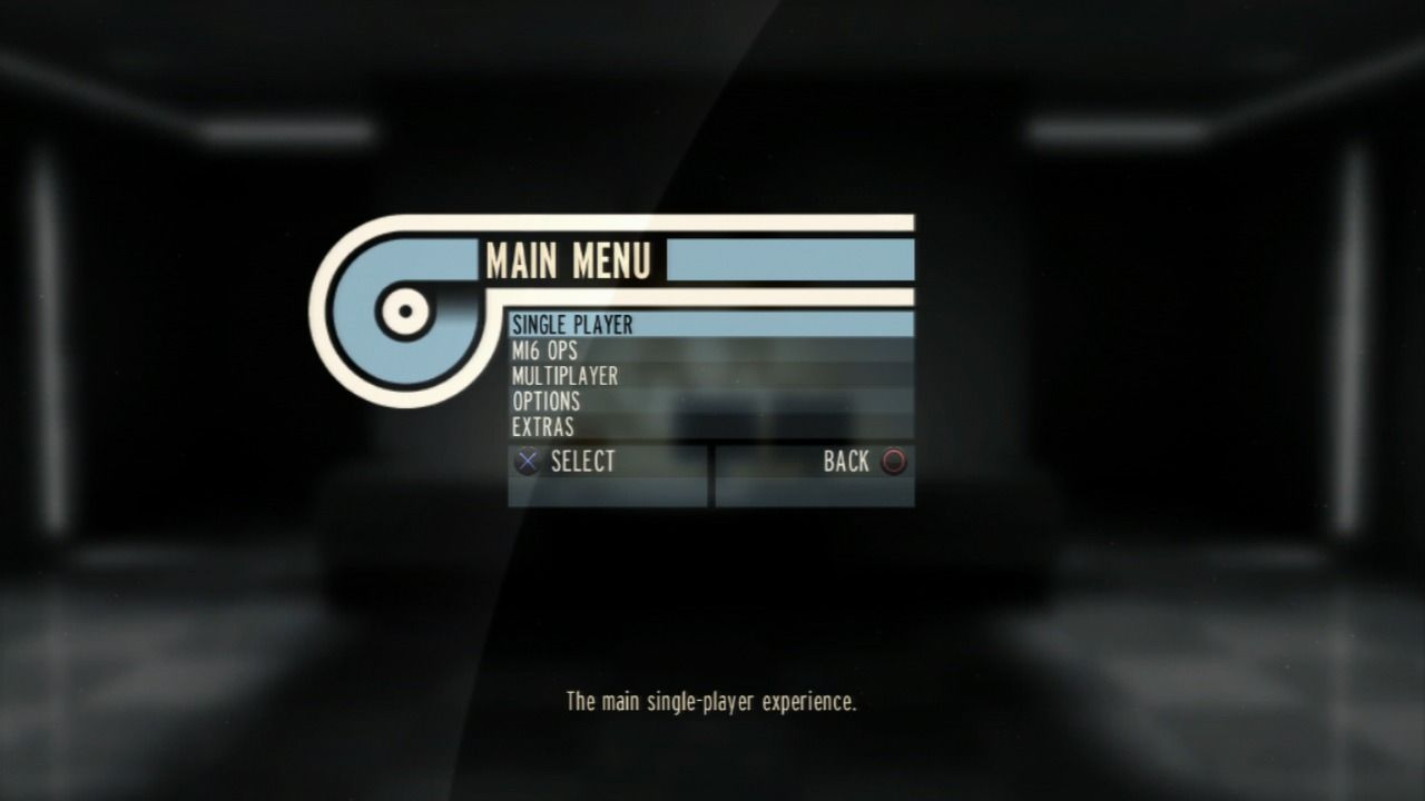 GoldenEye 007: Reloaded PlayStation 3 Main menu