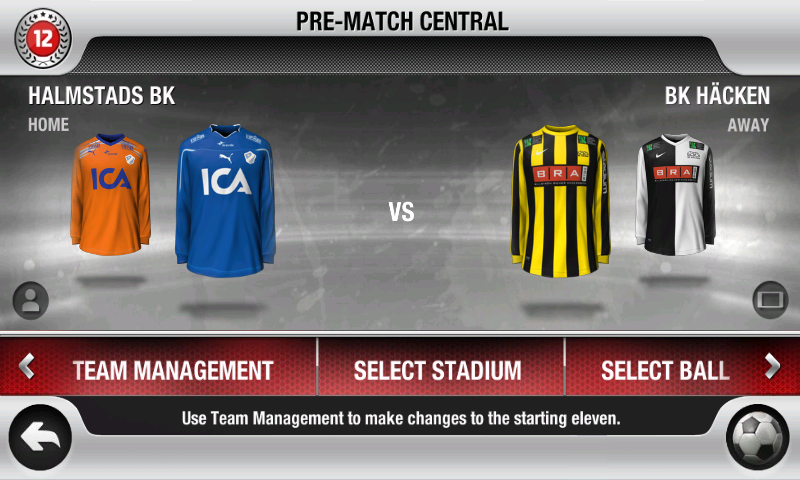 FIFA 12 Android Team selection