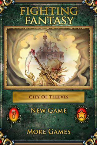 Fighting Fantasy: City of Thieves iPhone Start menu